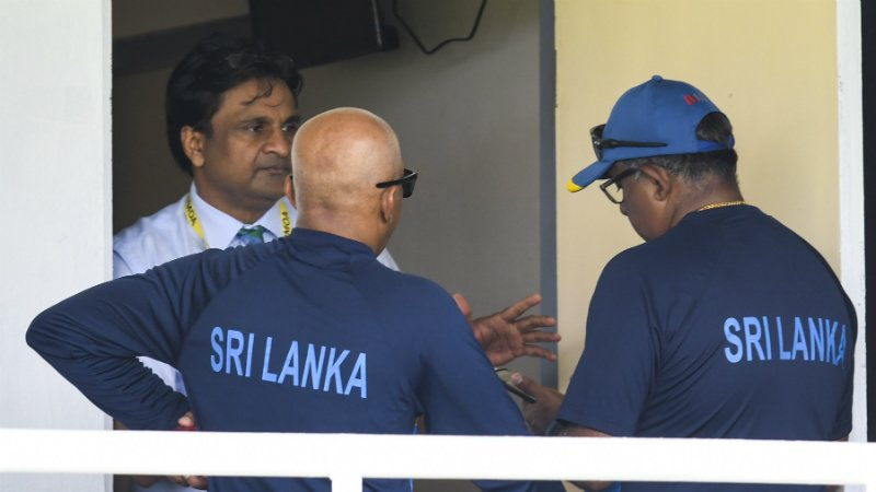 Javagal Srinath, the match referee, was involved in discussions with the Sri Lankan coach and manager