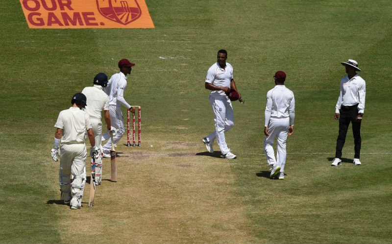 The altercation between Shannon Gabriel and Joe Root was caught on the stump mics