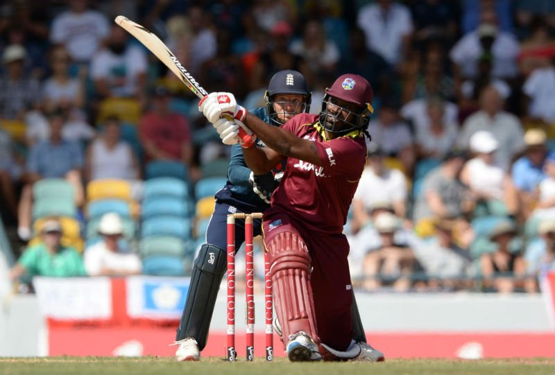 Chris Gayle sends one over the deep mid-wicket fence