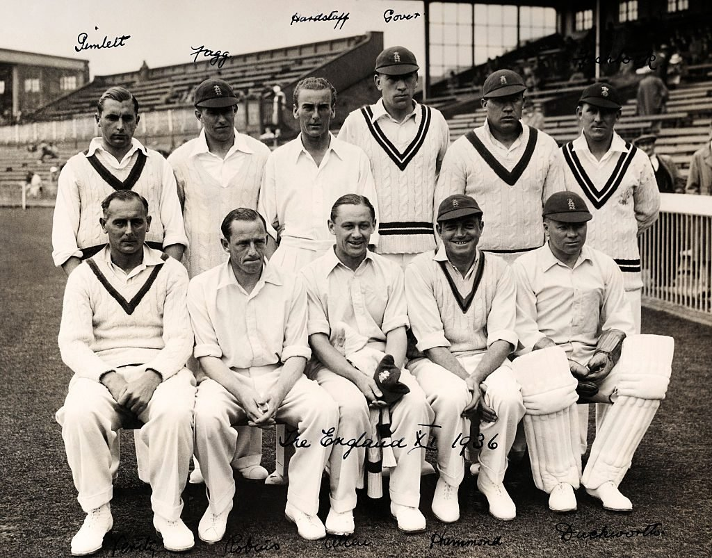Hedly Verity, first on the left in the front row, with the England side ahead of a Test against All India XI in Manchester