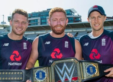 England stars given WWE Championship belt in honour of World Cup triumph