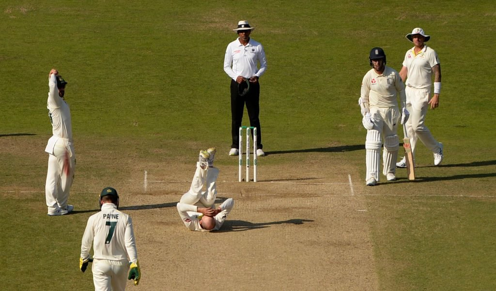 Lyon was denied an LBW appeal against Stokes in Leeds