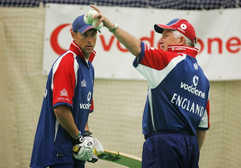 Trescothick with then England coach Duncan Fletcher during a nets session at the Brit Oval in 2005