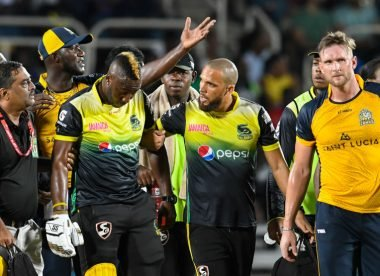 Andre Russell stretchered off after hit to helmet, but cleared of danger