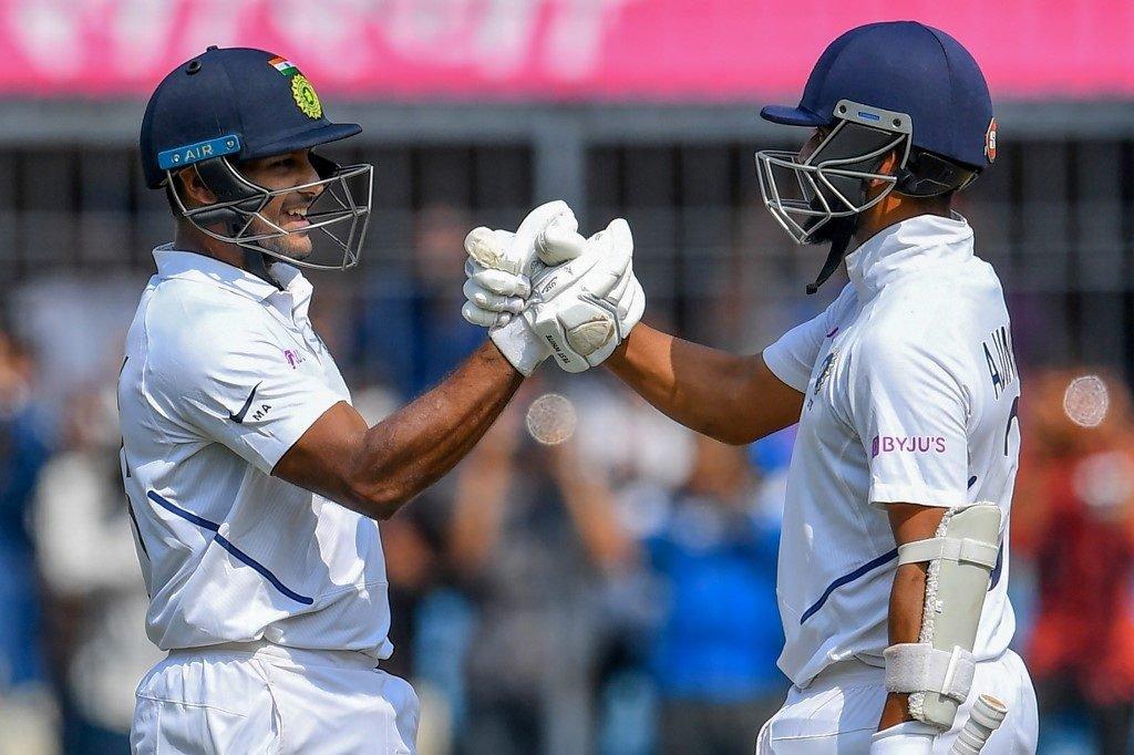 India rode on the 190-run stand between Mayank Agarwal and Ajinkya Rahane
