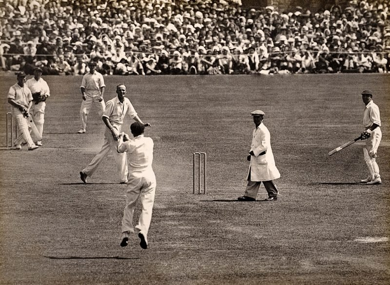 A wicket for Australia as England batsman Maurice Leyland is out
