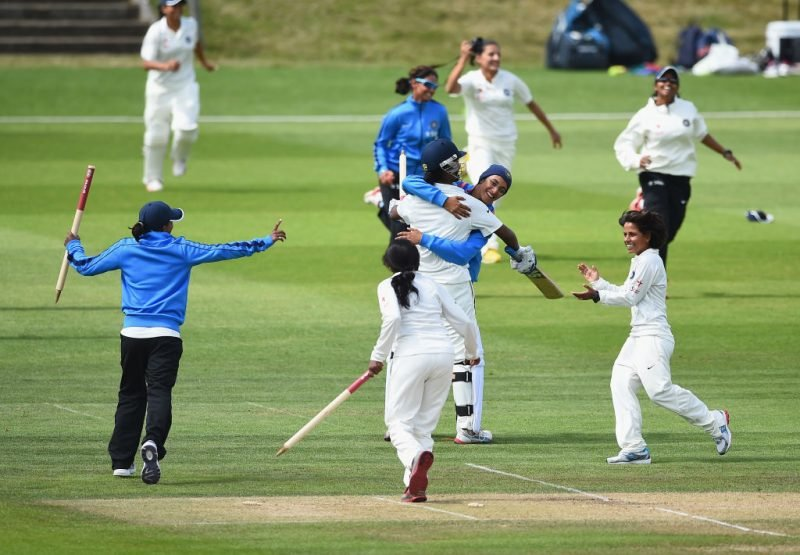 India Women celebrate the win in the one-off Test