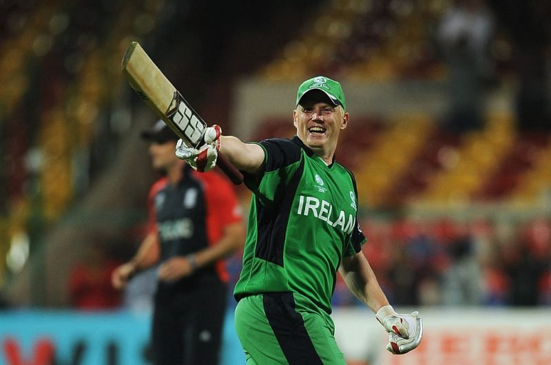 Kevin O'Brien raises his bat