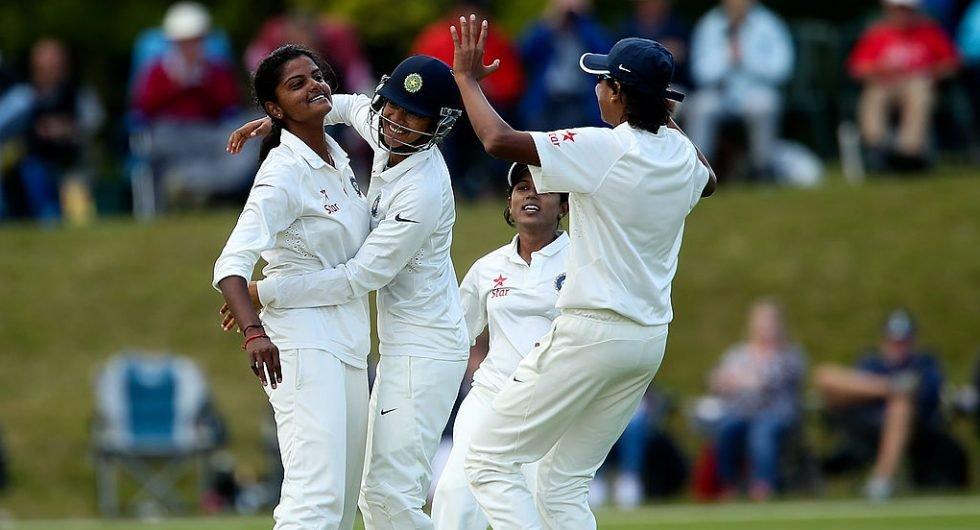 Niranjana Nagarajan celebrates a wicket at Wormsley