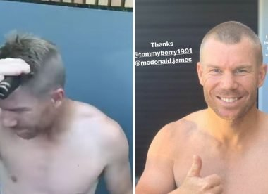 David Warner shaves head bald to show support for Covid-19 fighters