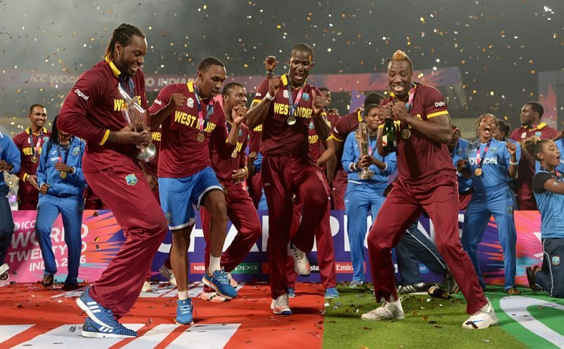 West Indies players celebrate after winning the T20 World Cup in 2016