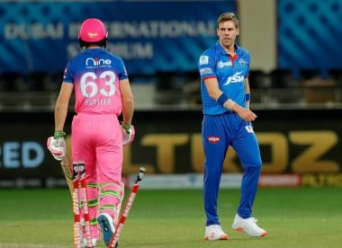 Anrich Nortje bowls Jos Buttler with 96mph delivery