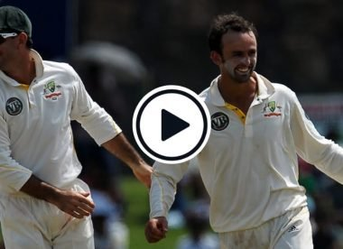 Watch: Nathan Lyon gets Kumar Sangakkara with his first ball in Test cricket