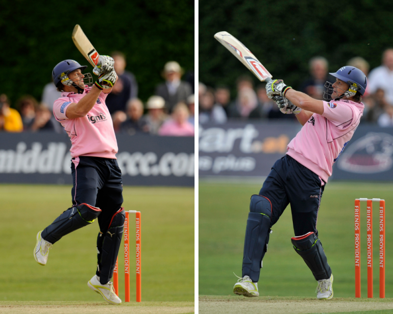 Adam Gilchrist hitting out on his return to Richmond CC while playing for Middlesex