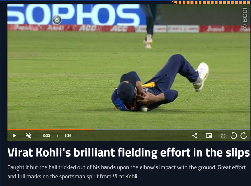 A screenshot of the Kohli drop on the BCCI site