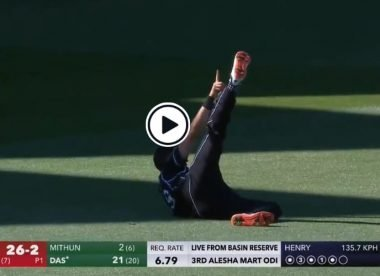 Watch: Trent Boult holds the pose after spectacular one-handed diving catch