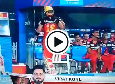 Watch: Furious Virat Kohli knocks down chair after getting out in IPL 2021
