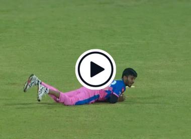 Watch: Debutant Chetan Sakariya takes stunning, disputed catch to dismiss Pooran first ball