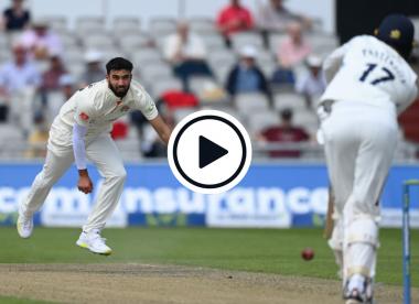 Watch: Saqib Mahmood sends stumps cartwheeling in Roses clash