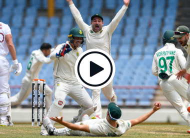 Watch: Wiaan Mulder completes Keshav Maharaj Test hat-trick with sensational reflex leg-slip grab