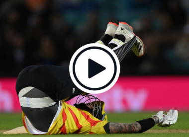 Watch: Hales gets hit in the 'gooly wooly woolies' twice in two balls