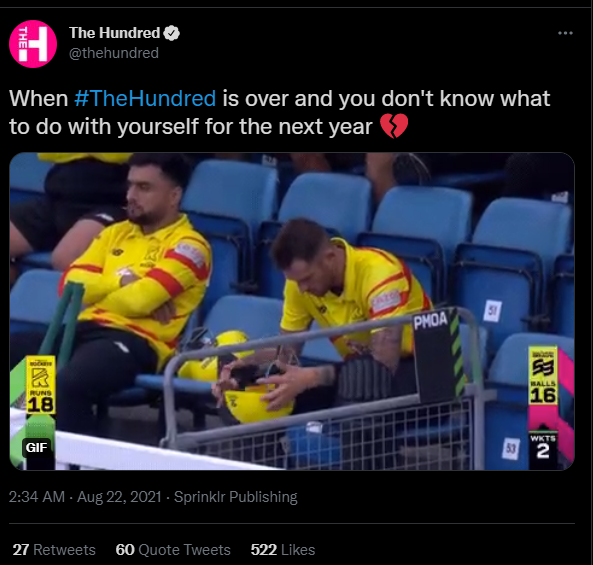 The Hundred tweet