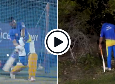 Watch: MS Dhoni goes into the bushes searching for practice balls after tonking huge sixes in IPL prep
