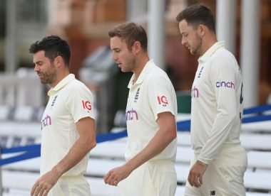 What is England's first-choice Test bowling attack at home?