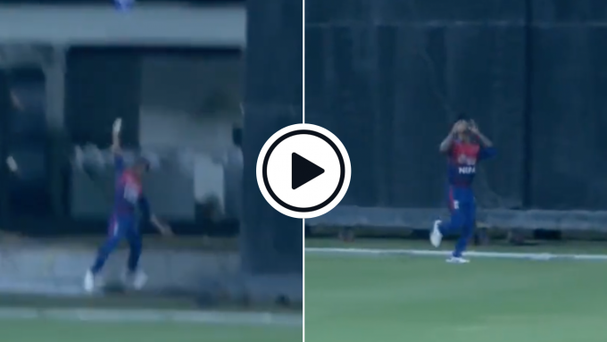 Watch: Nepal teenager pulls off astonishing one-handed boundary juggle to end record-breaking innings
