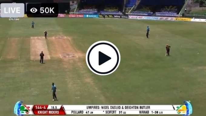 Watch: Non-striker Pollard makes mute protest at mid-wicket after umpire denies wide