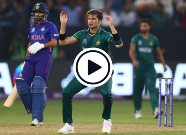 Watch: Buzzers! Stray Shaheen Afridi throw gifts India four runs off his own bowling