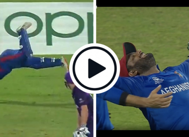 Watch: 'He's moved like a gymnast' — Shahzad dives full-stretch to grab an athletic one-handed stunner in Afghanistan's mauling of Scotland