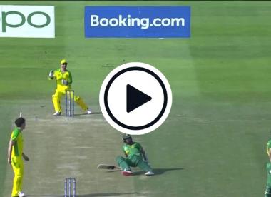 Watch: Keshav Maharaj slips onto his backside in comedy run-out against Australia